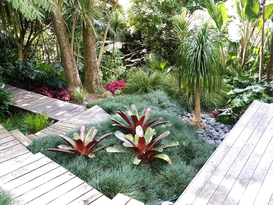 Sub tropical garden landscape design garden care for Garden landscape ideas nz