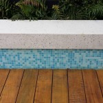 Decorative mosaic tile and white polished concrete