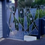 Designer gate – steel, Perspex and paua