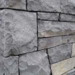 Cut basalt stone wall