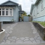 Bluestone and exposed aggregate driveway