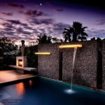 Contemporary water feature and lighting