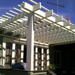 Cantilevered timber pergola