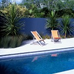 Contemporary pool with tiled surround