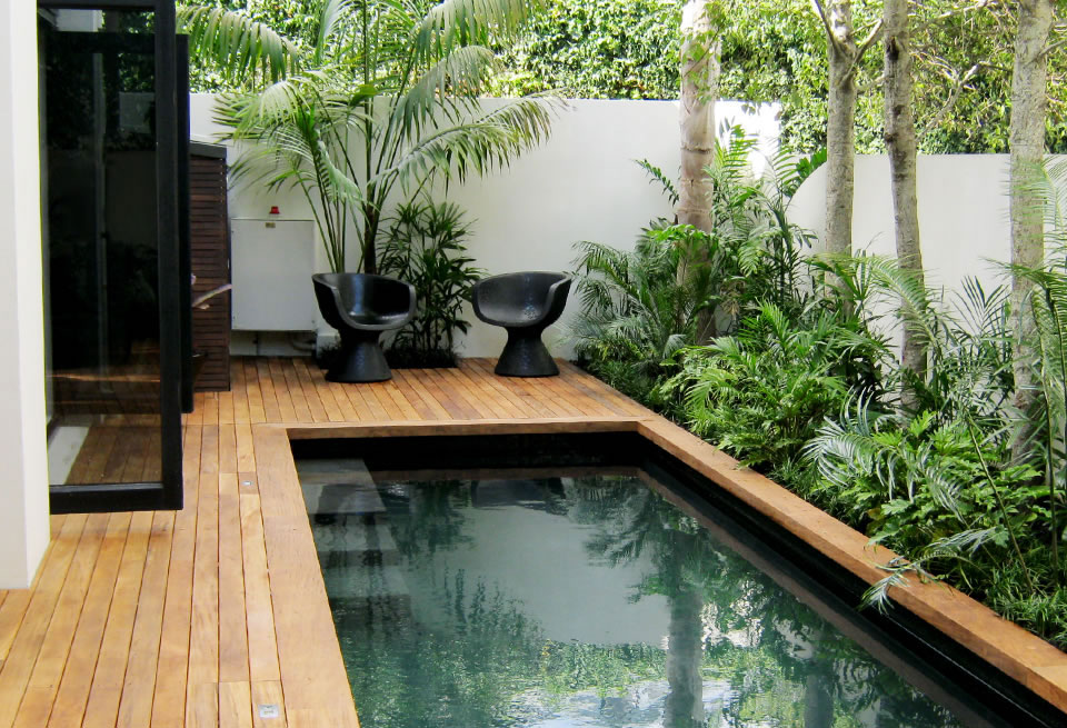 Small Courtyard Pool With Timber Surround Landscape Design Garden Care Services And Gardening