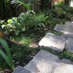 Rustic bluestone slab steps