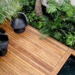 Hardwood deck and pool coping