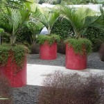 Red mosaic custom-designed cylindrical planters
